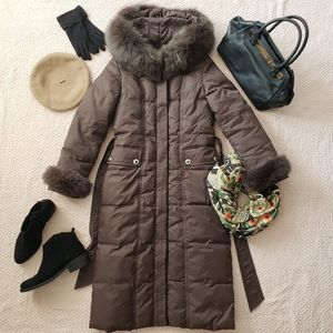 Brown Long Puffer Parka Jacket Coat